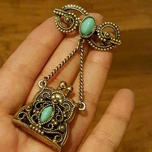 Vintage Mini Purse Brooch With Bow Pin
